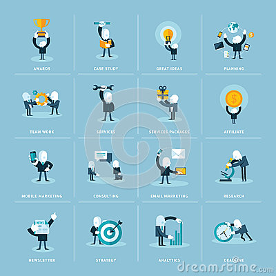 Set of flat design concept icons for busines