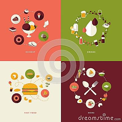 Set of flat design concept icons for restaurant