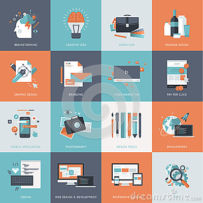 Set of flat design concept icons for website and app development, graphic design, branding, seo Vector Illustration