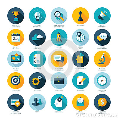 Set of flat design icons for Business, SEO and Soc