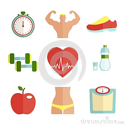 Set of flat health and sport icons