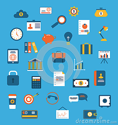 Free Set Flat Icons Of Web Design Objects, Business, Office And Marke Royalty Free Stock Photography - 50790627