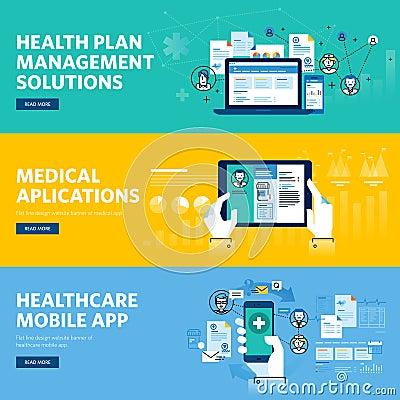 Set of flat line design web banners for healthcare mobile app