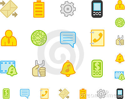 Set of flat mobile phone icons.