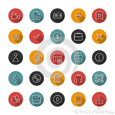 Set of flat thin icons. Style lines. Vector collection. Vector Illustration