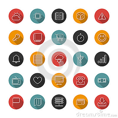 Set of flat thin icons. Style lines. Vector collection Vector Illustration
