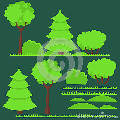 Set of flat trees and Vector Illustration