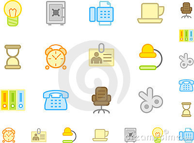 Set of flat workplace icons