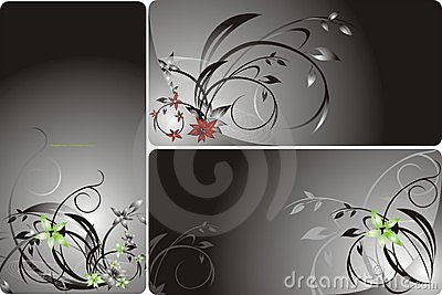 Set of floral backgrounds for card