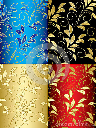 Set of floral backgrounds with gradient - vector