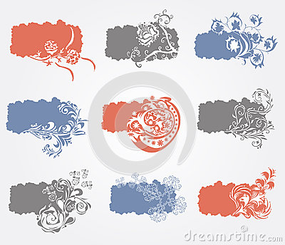 Set of 9 floral banners