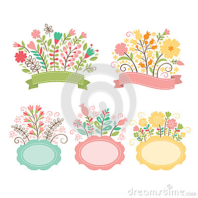 Set of floral bouquets and frames Vector Illustration