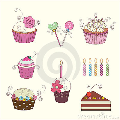 Set of floral cake and candy