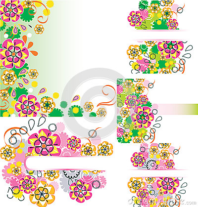 Set of floral card