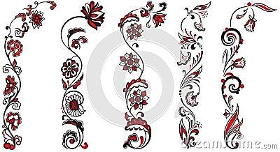 Set of floral decor ornaments