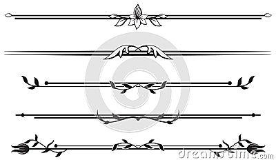 Set of floral ornamental rule lines
