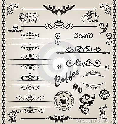 Set floral ornate design elements (7)