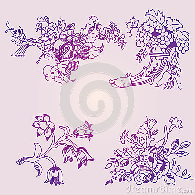 A set of floral patterns