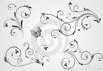 Set of floral swirl designs
