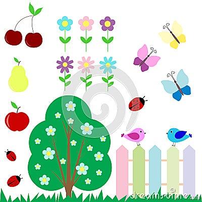 Set of flowers, fruits, butterflies, birds