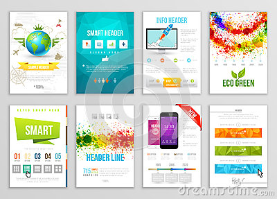 Set of Flyer, Brochure, Background, Banner Designs. Vector Poster Templates. Paint Splashes Abstract Background for Business Card Vector Illustration
