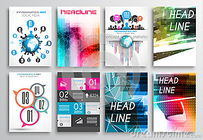 Set of Flyer Design, Web Templates. Brochure Designs, Infographics Backgrounds Vector Illustration