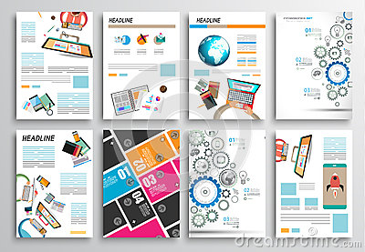 Set of Flyer Design, Web Templates. Brochure Designs, Infographics Backgrounds Vector Illustration