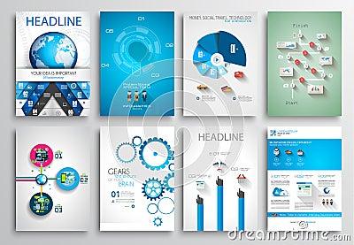 Set of Flyer Design, Web Templates. Brochure Designs Vector Illustration