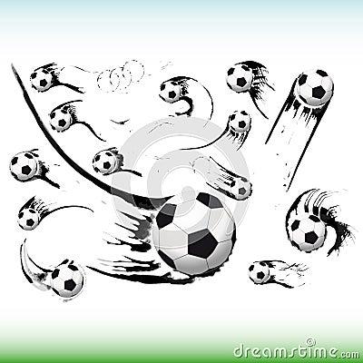 Set of flying soccer balls.