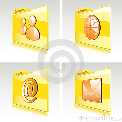 Set of folders with abstract icons for computer