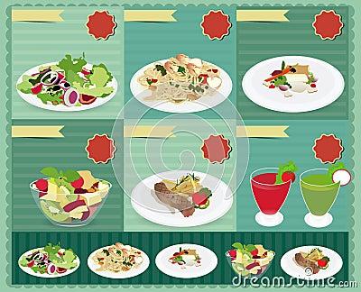 Set of food menu, Salad, Shrimp and spaghetti, Fis