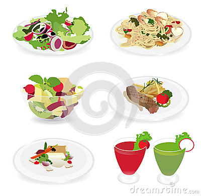 Set of food menu, Salad, Shrimp and spaghetti, Fis
