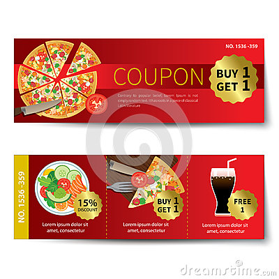 Set Of Food Voucher Discount Template Design Vector Illustration