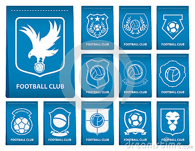 Set Of Football Or Soccer Crest On Blue Tag In Flat Design. Football Logo  Emblem. Football Badge. Vector. Cartoon Vector