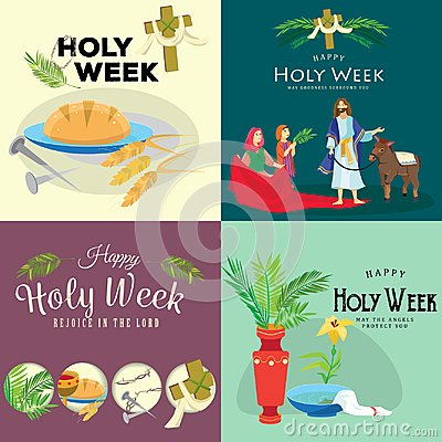Free Set For Christianity Holy Week Before Easter, Lent And Palm Or Passion Sunday, Good Friday Crucifixion Of Jesus And His Royalty Free Stock Photography - 112190907