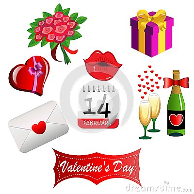 Free Set For Valentines Day Royalty Free Stock Images - 28292169