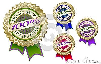 Set of Four 100  Money Back Guarantee Emblem Seals