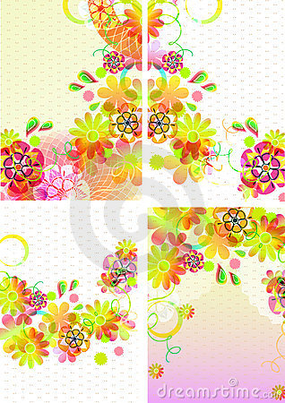 Set of four beautiful backgrounds with flowers