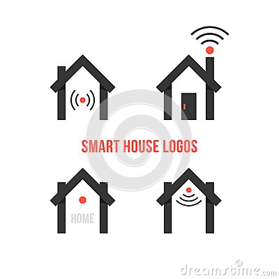 Set Of Four Black Smart House Logos Concept Of Eco House Automation