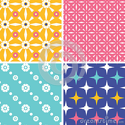 Set of four blue yellow pink geometric patterns