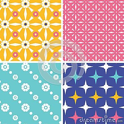 Set of four blue yellow pink geometric patterns