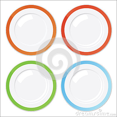 Set of four clean plates with colored borders