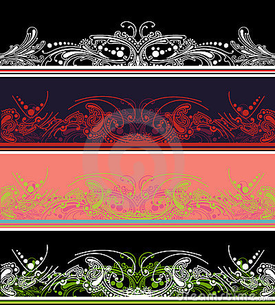 Set Of Four Color Border  Elements