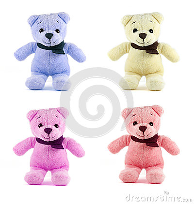 Set of four color TEDDY BEAR with scarf