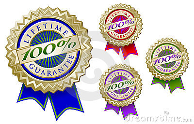 Set of Four Colorful 100  Lifetime Guarantee Emble