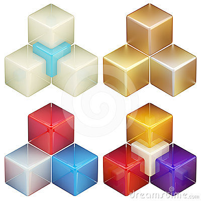 Set of four colorful abstract cube compositions