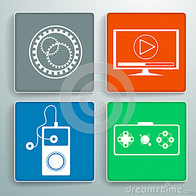 Set of four colorful icons with texture for websit