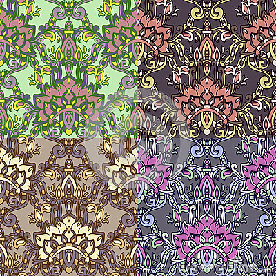Set of four colorful seamless patterns. EPS-8. Vector Illustration
