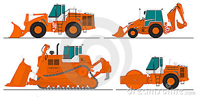 Set of four construction machines