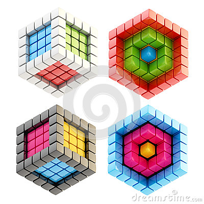 Set of four cube compositions isolated